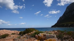 Stones at Island Tavolara coast, Sardinia. - stock footage
