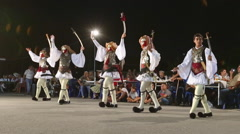 Greek Traditional Folk Dance in traditional costumes and fashion Stock Footage