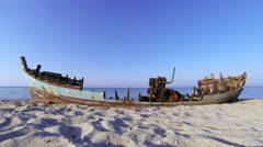 An old boat on the Mediterranean coast in Greece Stock Footage