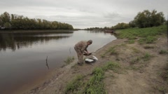 Fisherman at the river Stock Footage
