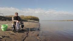 Portrait of a fisherman Stock Footage