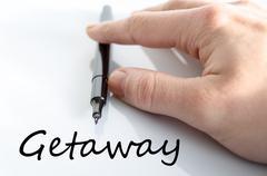 Getaway text concept Stock Photos