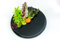 vegetable salad on plate with blank spcae for wording - stock photo