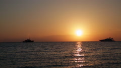 Traveling Boats in Aegean sea at the sunset - stock footage