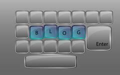 Vector glass keyboard with sign BLOG - stock illustration