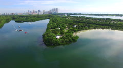 Aerial video Oleta Miami and Biscayne Bay - stock footage