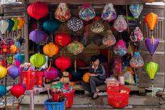 Handicraft lantern store Stock Photos