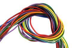 Close up photo of multicoloured wire - stock photo