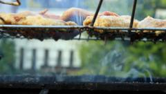 Barbecue - meat roasted in the heat and smoke, turning over Stock Footage