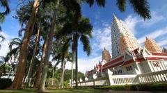 Ancient pagoda architecture ,Wat Yansangwararam Temple, Thailand - stock footage