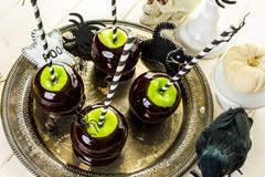 Black candy apples - stock photo