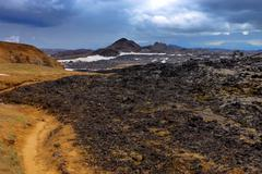 Volcanic landscape in Iceland - stock photo