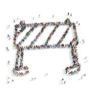 People  shapebarrier building Stock Illustration