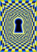 optical illusion with hole - stock illustration