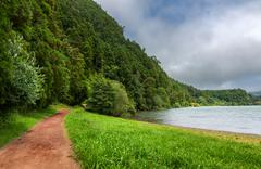 Path along Furnas Lake in Sao Miguel, Azores Islands - stock photo