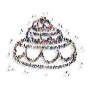 people  shape  cake wedding - stock illustration