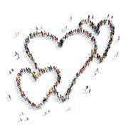 People  shape  heart cartoon Stock Illustration