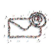Group  people shape mail  cartoon Stock Illustration
