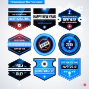 Set of labels and badges for Christmas and New Year. EPS10 Stock Illustration