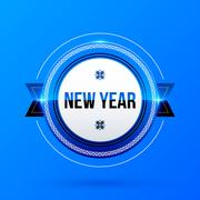 New Year and Christmas label on blue background - stock illustration