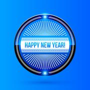 New Year and Christmas label on blue background Stock Illustration