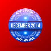 New Year and Christmas label on bright red background Stock Illustration