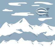 Airship travel background Stock Illustration