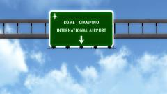 Stock Video Footage of 4K Passing Roma Ciampino Italy Airport Highway Sign with Matte 4 stylized