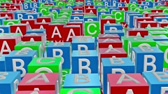 Toy cubes with letters A,B,C - stock footage