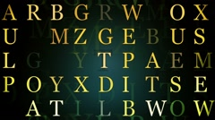 Letters in yellow on dark Stock Footage