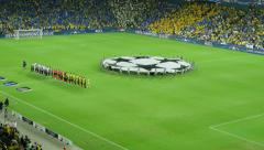 Champions League matches. Teams listen to the anthem of the Champions League. Stock Footage