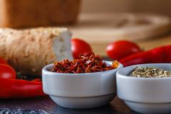 Breakfast menu recipe with spices - stock photo