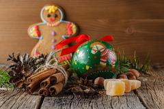 Gngerbread man and christmas spices, chinnamon, anise - stock photo