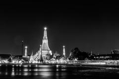 Black and white of Wat arun also call temple of dawn - stock photo