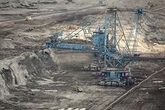 Coal Mine With Open Pit Mining - stock photo