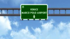 4K Passing Venice Italy Airport Highway Sign with Matte 6 stylized Stock Footage