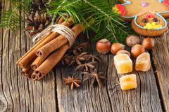 christmas spices, chinnamon, anise - stock photo