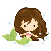 Cute mermaid girl Stock Illustration