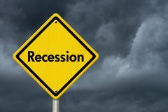 Recession Warning Road Sign - stock photo