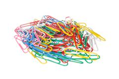 Colourful paper clips isolated on white Stock Photos
