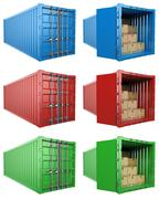 Stock Illustration of 3D Open and close container with cardboard boxes