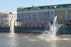 Moscow, Russia - 09.21.2015. Fountains on Moscow river drainage channels - stock photo