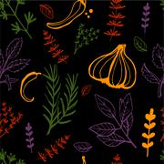 Seamless vintage pattern hand drawn herbs - stock illustration