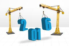 Cranes arrange numbers 2016 - stock illustration