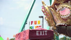 Rides at carnival in motion 4k Stock Footage