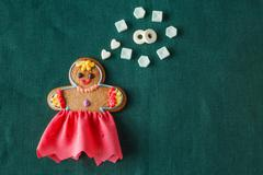 Mariage concept. Gingerbread girl with wedding dream - stock photo