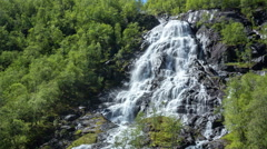 Aerial footage from Tvindefossen waterfall, Norway Stock Footage