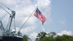 Flag on military navy vessel waving proud 4k Stock Footage