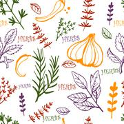 Seamless vintage pattern hand drawn herbs Stock Illustration