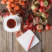 Stock Photo of Fall wealth with message thank you on rustic wooden background